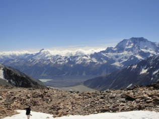 New Zealand. Mount Cook and Tasman Glacier, Mount Hutton, Mount Cook National Park.