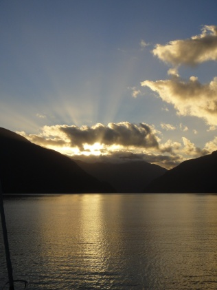 New Zealand. Sunset, Doubtful Sound.